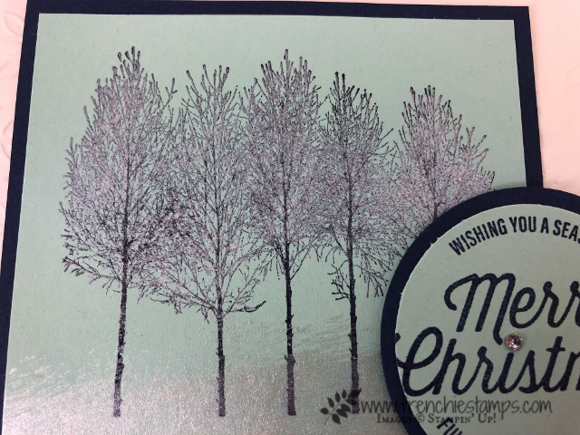 How to stamp with Shimmer Paint. Perfect for Frosted Trees. Winter Woods Stamp set. All supplies by Stampin'Up! and can be purchase at frenchiestamps.com