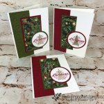 Make 18 cards using All is Bright Designer paper. Very little wast on this design. Quick and simple. Stamp set Timeless Tidings. All product by stampin