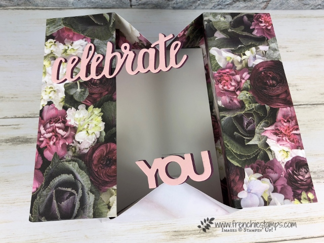 How to make a A-2 Box Card. Designer paper Petal Promenade. One sheet card. All product by Stampin'Up! avaialbel at Frenchiestamps.com