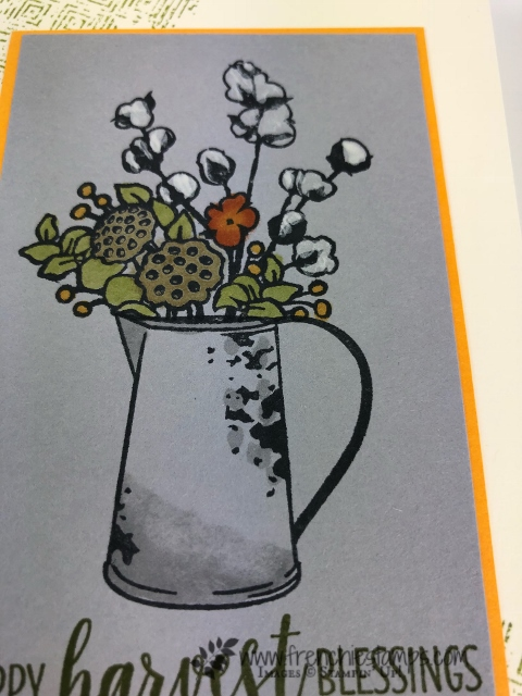How to color the Country Home into Smokey Slate Card Stock using Stampin'Blends. Adding a little Shimmer paint on the cotton stock it give a true look. All product by Stampn'Up! and avaialble to purchase at frenchiestamps.com