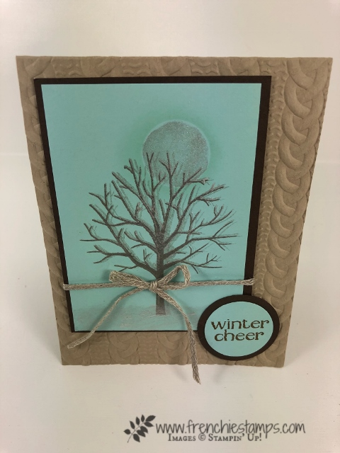 stamping with shimmer paint. Perfect for frost on a tree. All product by Stampin'Up! and available at frenciestamps.com