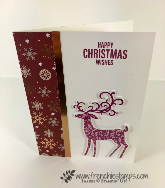 Christmas Swap with the leader group. All cards showcase products from Stampin'Up! Holiday 2018 catalog. All can be purchase at frenchiestamps.com Dashing Deer