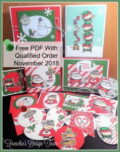 Customer Appreciation with Frenchie Stamps. This month it is all about Santa's Workshops. Signs of Santa stamp set, Santa's Workshop designer paper. All products by Stampin'Up! that can be purchase at frenchiestamps.com