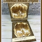 How to do a emboss resist in sepia color. Stamp set Winter Woods and Dashing Deer. All products by Stampin