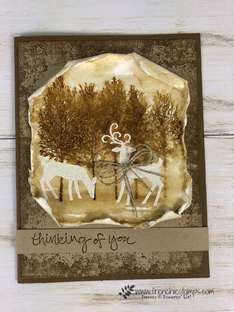How to do a emboss resist in sepia color. Stamp set Winter Woods and Dashing Deer. All products by Stampin'Up! and can be purchase at frenchiestamps.com