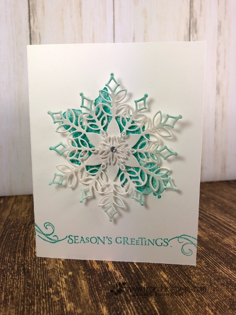 Limited Edition Snowfall Thinlits. Simple card and so elegant. Stamp set Beautiful Blizzard. All supplies by Stampin'Up! available at frenchiestamps.com