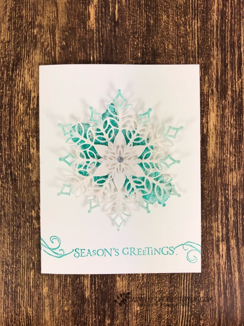 Limited Edition Snowfall Thinlits. Simple card and so elegant. Stamp set Beautiful Blizzard. All supplies by Stampin'Up! available at frenchiestamps.com Free print out instruction