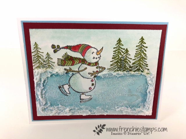 How to add glitter to your greeting cards with multipurpose glue and water. How to video with frenchiestamps. All product are by Stampin'Up! and can be purchase at frenchiestamps.com Stamp set Spirited Snowmen and Timeless Tiding