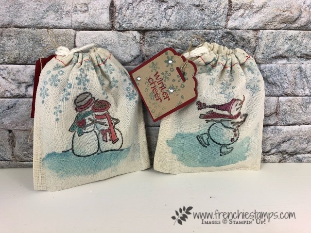 Learn how to stamp on muslin bag. Stamp set Spirited Snowmen. All product by Stampin'Up! and can be purchase at frenchiestamps.com
