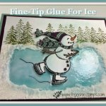 How to make a ice ring on paper with fine-tip glue and Shimmery White embossing past. How to video with frenchiestamps. All product are by Stampin