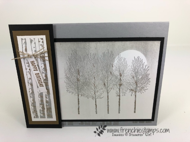Winter Woods is perfect for a masculine card and can be so soft and simple. All product by Stampin'Up! and available at frenchiestamps.com