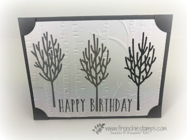 How to make a Ombree card and also doing the Inlaid technique. All in one. Framelits is In The Woods. All product by Stampin'Up! and can be purchase at frenchiestamps.com