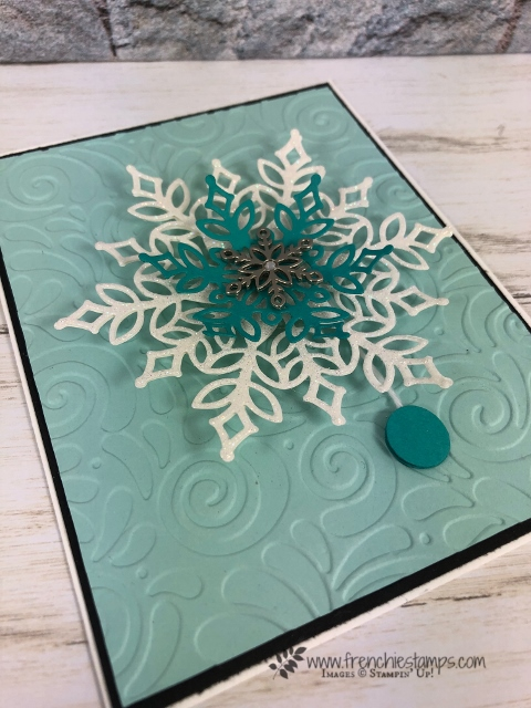 Learn how to make a Yo-Yo and spinner card all in one. Thinlits Snowfall is limited edition. All product by Stampin'Up! and can be purchase at frenchiestamps.com