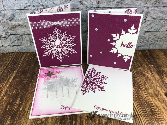 Using the Snowfall Thinlits for birthday cards. Stamp set Winter Woods. How to make a Snowflake window glitter. All product by Stampin'Up! and can be purchase at frenchiestamps.com