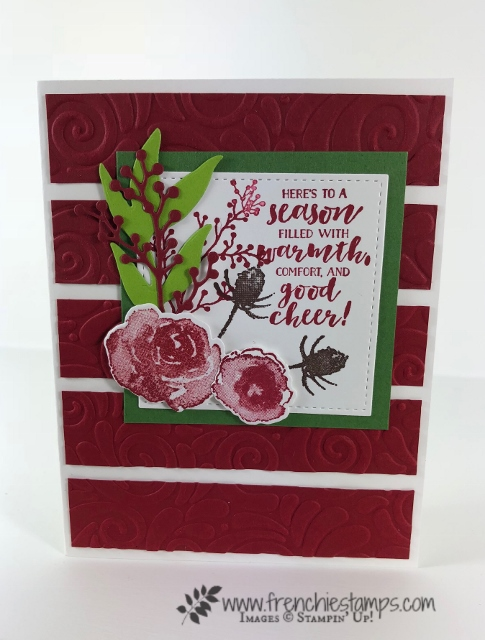Christmas Swap with the leader group. All cards showcase products from Stampin'Up! Holiday 2018 catalog. All can be purchase at frenchiestamps.com First Frost