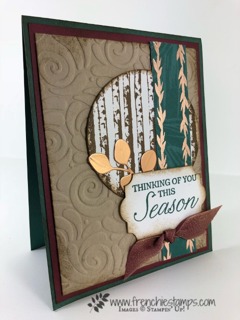 Christmas Swap with the leader group. All cards showcase products from Stampin'Up! Holiday 2018 catalog. All can be purchase at frenchiestamps.com Winter Woods