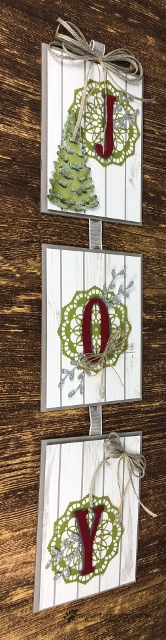 Joy Banner. Large Letter and Doillies. All product by Stampin'Up! that can be purchase at Frenchiestamps.com. I will be live to share how to make this lovely banner.