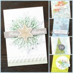 Snowflake Showcase. Happiness Surround, Snow is Glistening, Snowflake Thinlits, Snowflake Trinkets and Velvet paper all available while supplies last or end of November 2018, whichever come first. All product by Stampin