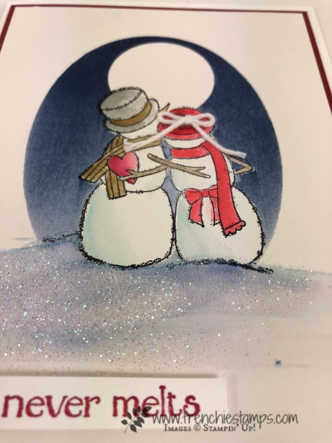 Technique Triple masking. Stamp set Spirited Snowman. Perfect for valentine cards. All product by Stampin'Up! available at frenchiestamps.com