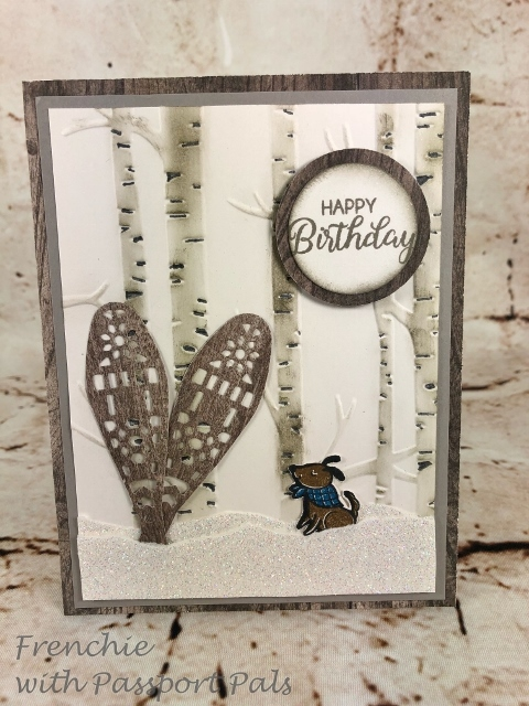 Birthday Card using the Alpine stamp set and Bike Ride. Embossing folder Woodland. All product by Stampin'Up! and you can purchase at frenchiestamps.com