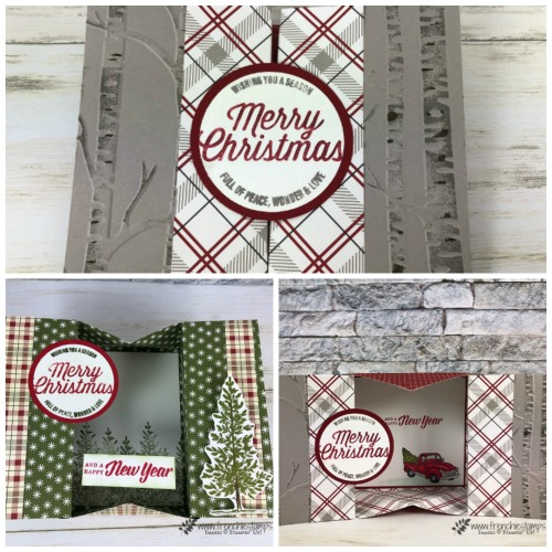 Farmhouse Christmas and Lovely as a Tree.  Christmas Box Card. No adhesive needed for these box card. Score and fold. All products by Stampin'Up! that can be purchase at frenchiestamps.com
