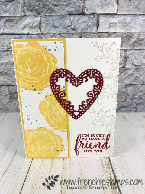 Healing Hugs for Valentine card. Daffodil and Cherry Cobbler is a perfect combination for friendship. Meat to Be bundle and all other products are by Stampin'Up! avaialble to purchase at frenchiestamps.com