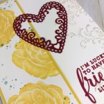 Healing Hugs for Valentine card. Daffodil and Cherry Cobbler is a perfect combination for friendship. Meat to Be bundle and all other products are by Stampin
