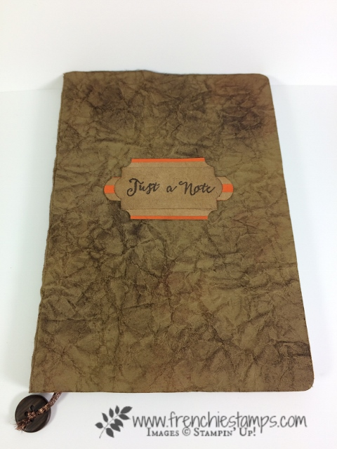Faux Leather Note Book using Stampin'Up! Cardstock and Glycerin. frenchiestamps.com