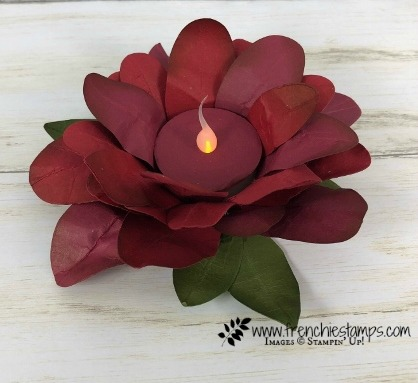 How to make a Poinsettia out of Oval die to hold a tea light. Product by Stampin'Up! and can be purchase at frenchiestamps.com