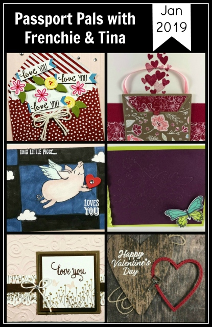 Frenchie's Team Design Team and Passport Pals customer appreciation. Forever Lovely, Beauty swirly Birds, Petal Palette, This Little Piggy, Enjoy Life, Butterfly Gala, Meant to Be. All product by Stampin'Up! available at Frenchie Stamps.