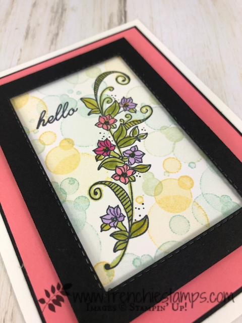 Bokeh frame with Beauty Abounds.  This is the perfect set for a quick Bokeh effect. Frame using the Stitched rectangle fraamelits. All products by Stampin'Up! available in the USA at frenchiestamps.com