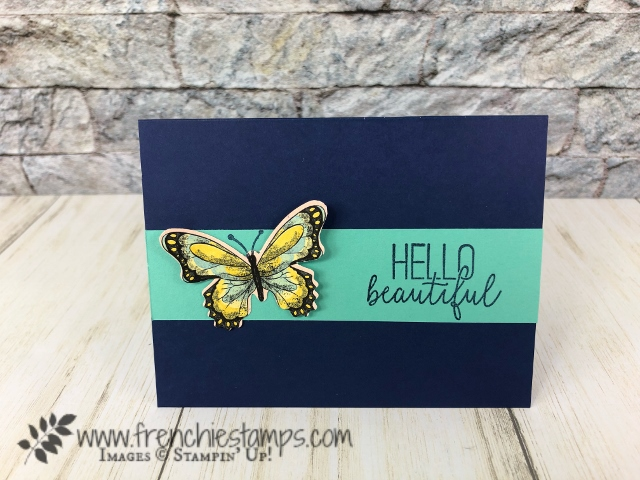 simple cards using the Butterfly Gala bundle with the Botanical Butterfly designer paper. Happiness Blooms cards. All products are from Stampin'Up! available at frenchiestamps.com. With qualified order get the Botanical Dsigner paper for FREE.