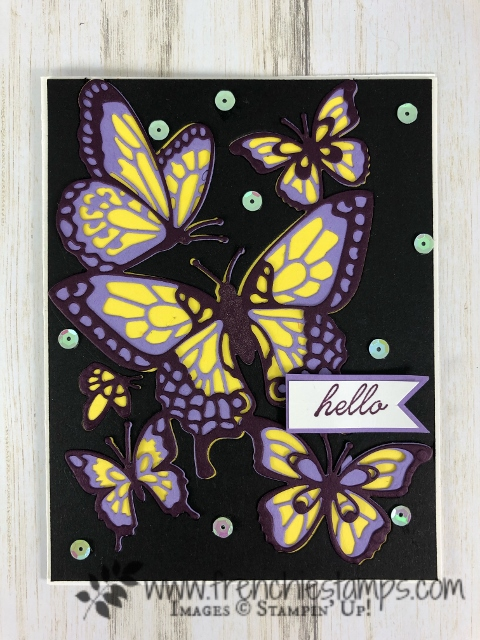 How to use the negative of the Butterfly Beauty and have a 3 color butterfly. All product from Stampin'Up! and available in the USA at frenchiestamps.com