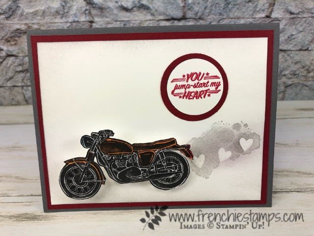 Fun masculine valentine's cards using the Classic Garage designer paper.. Technique heat emboss resist. All product by Stampin'Up! available at frenchiestamps.com