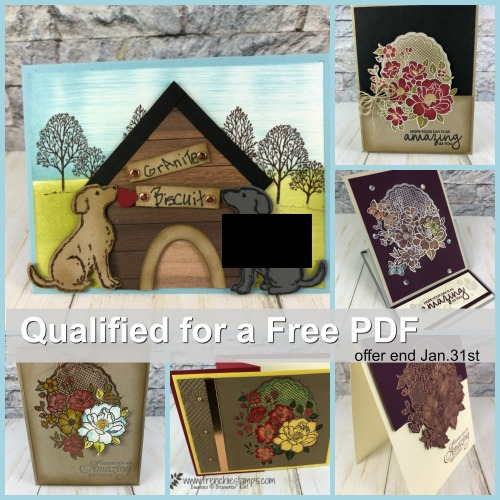 Last chance to qualified for the PDF Lovely Lattice and Happy Tail live class with Holly and Frenchie. All product are by Stampin'Up! available at frenchiestamps.com
