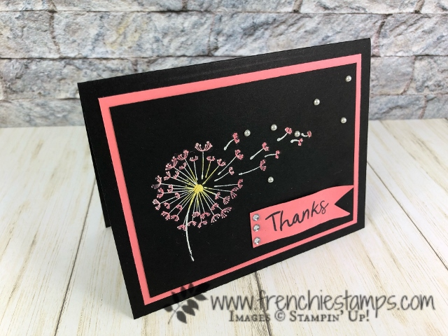Dandelion Wishes emboss with white powder and color Stampin' Blend. All product by Stampin'Up! available at frenchiestamps.com