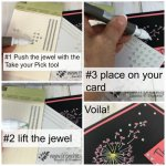 Take Your Pick to apply Jewels on cards. Best tip for pearls, rhinestone and jewels . Tool is by Stampin