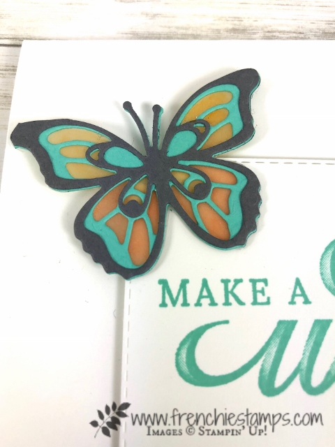 Butterfly Beauty with a layer of Vellum, color with blends. Greeting is the stamp set Life is Grand. Rectangle Stitched Framelits, All product by Stampin'Up! available at frenchiestamps.com