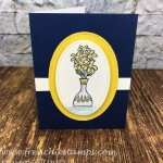 Simple card using the Happiness Blooms Memories Card and envelop and Vibrant Vases stamp set. Free Download at fenchiestamps.com All supplies by Stampin