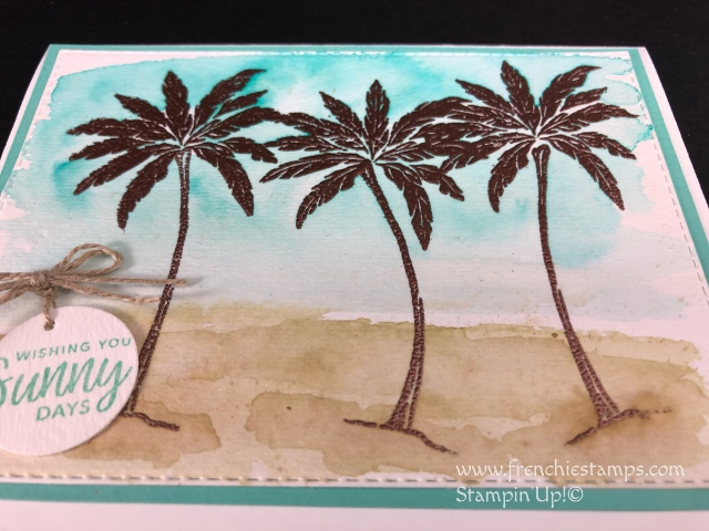 How to make a quick watercolor back groung on a emboss image. Emboss Resit with watercolor. Stamp set Beach Happy by Stampin'Up! available at  frencshiestamps.com