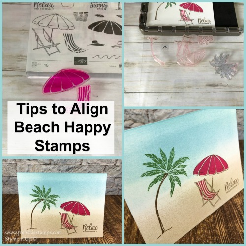 Tip on how to align Beach Happy on the Stamparatus. Also using stampin' spots. All products are by Stampin'Up! available at frenchiestamps.com