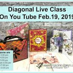 All about Diagonal Cut on cards. Live class on You Tube with Frenchie and Holly. All product by Stampin