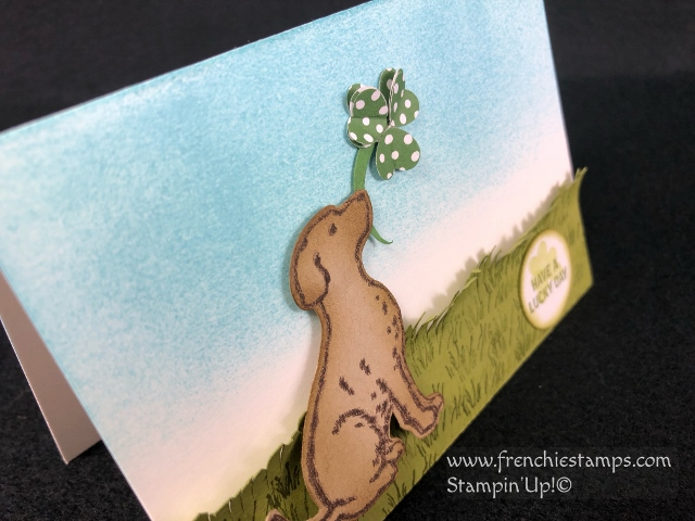 Happy Tail for Saint Patrick's Day. How to make a shamrock with hearts. All products by Stampin'Up! available at frenchiestamps.com