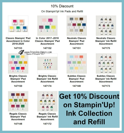 Get 10% discount on Stampin'Up! ink collection at frenchiestamps.com