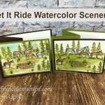 Let It Ride Watercolor Scenery. Great masculine card or for the one that love horses. All product by Stampin