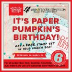 Happy 6th Birthday Paper Pumpkin. we are celebrating with a free stamp set. Don