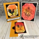 Corner Pocket and background Brusho. stamp set Home to Roost and Amazing Life. All product by Stampin