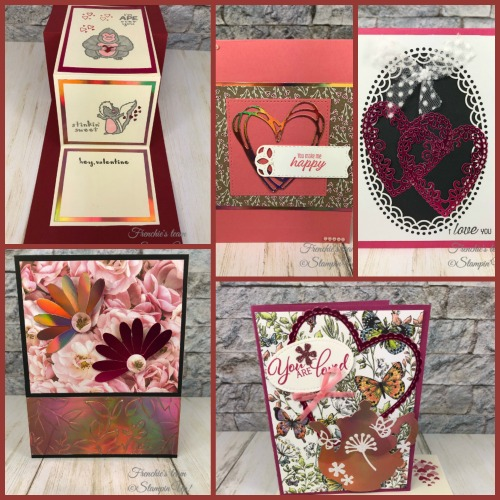 Frenchie's Team showcasing the Grapefruit Grove & Lovely Lipstick Foil Sheets from Sale a Bration. Foil sheet can be yours for free with qualified order. All products by stampin'Up! available at frenchiestamps.com Stamp set: Hey Love. Framelits Be Mine Stitched, Tea Time, Sunshine Wishes, Daisy Punch