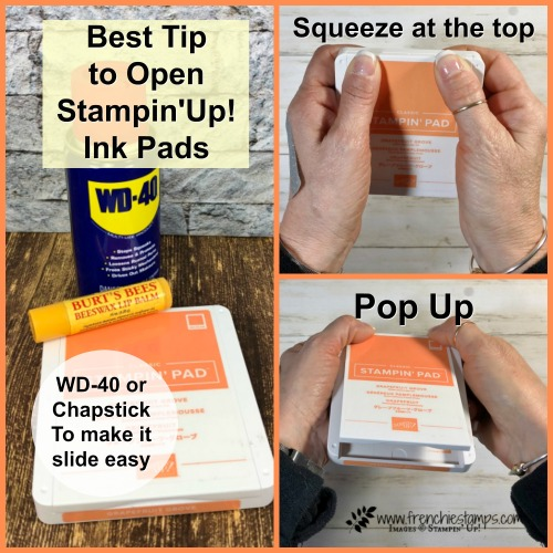 Best tip on how to open the new Stampin'Up! ink pad super easy. Visit my blog at frenchiestamps.com for more detail.