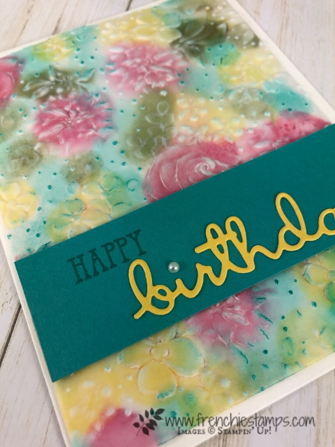 Country Floral Embossing Folder with vellum. Color on vellum with ink, Stampin' Blends. All product by Stampin'Up! available at frenchiestamps.com